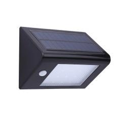Foco solar triangulo c/ sensor de movimiento. Negro.