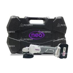 """Amoladora a Batería Neo 4 1/2"""" + Maletín + 2 Baterías 3amp - Acerix"""