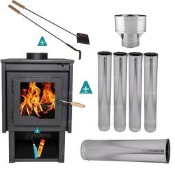 Estufa Calefactor a Leña Tromen Eco del Sur + Kit de Caños pTecho + Regalos