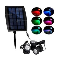 FOCOS LED SOLAR 3 PIEZAS RGB PANEL INDEPENDIENTE