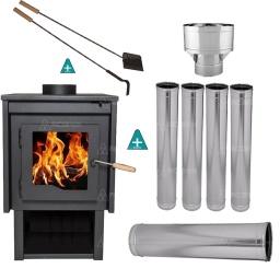 Estufa Calefactor a Leña Tromen Eco del Sur + Kit de Caños p/Techo + Regalos