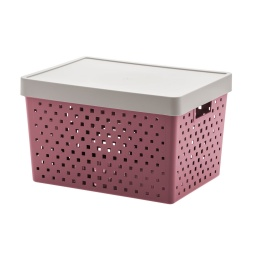 Caja Organizadora Símil Ratan Calada Con Tapa Premium