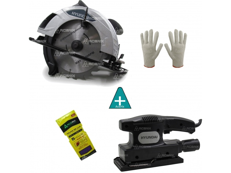 Kit Herramientas Circular Hyundai + Lijadora + Regalos